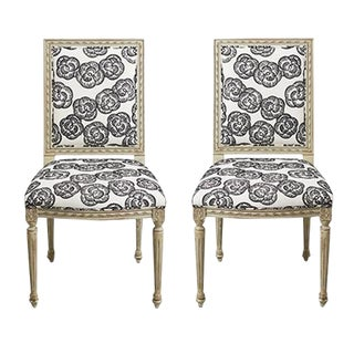 Schumacher Louis XVI Vogue Living Mona Blackwork Upholstered Side Chairs - a Pair For Sale