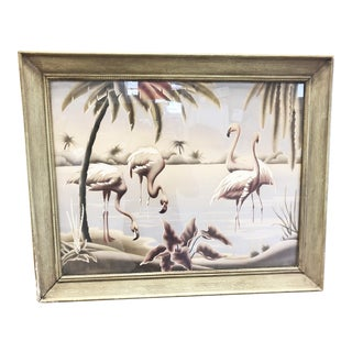 Mid Century Art Deco Flamingo Print Wall Art by Turner Mfg Co For Sale