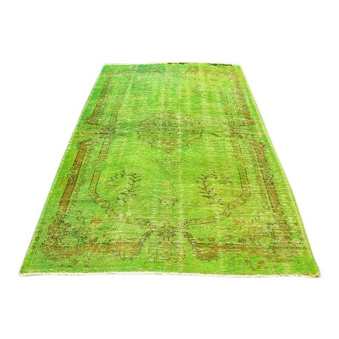 Vintage Green Overdyed Rug - 5′1″ × 8′1″ - Image 1 of 6