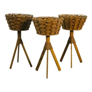 Vintage Oak & Papercord Plant Stands, Set of 3 For Sale