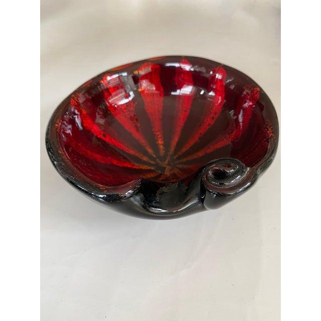 Mid-Century Alfredo Barbini Murano Art Glass Red Circus Tent Bowl For Sale - Image 11 of 11