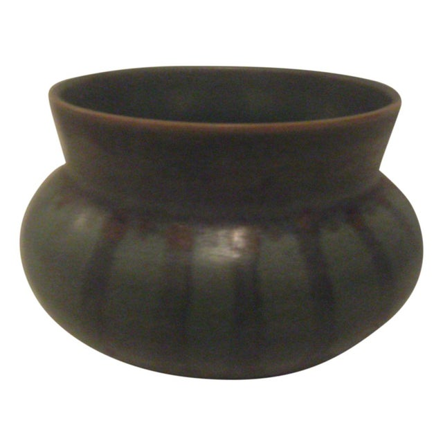 Green Striped Art Pottery Pot - Image 1 of 7