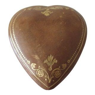 Vintage Florentine Heart Shaped Embossed Leather Trinket Box For Sale