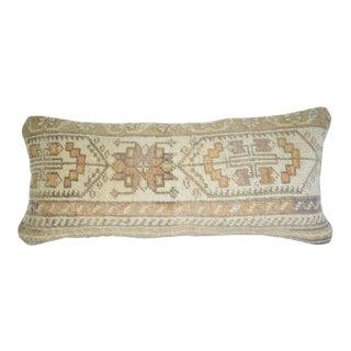 Vintage Turkish Lumbar Rug Cushion, Handmade Sofa Throw Home Kelim Anatolian Cushion Cover 10'' X 24'' (25 X 60 Cm) For Sale