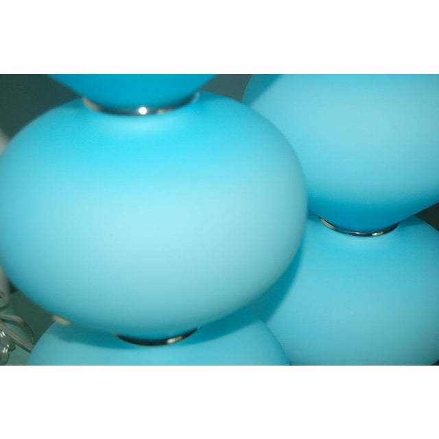 Vintage Murano Glass Stacked Table Lamps Blue Satin For Sale - Image 4 of 9
