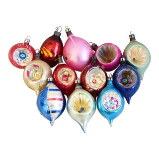 Vintage Indent & Fancy Glitter Christmas Ornaments - Set of 12 For Sale