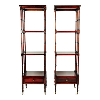 Vintage Solid Mahogany Wood Display Etageres / Shelves - a Pair For Sale