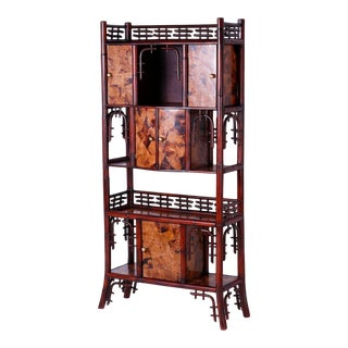 Midcentury Bamboo Etagere For Sale
