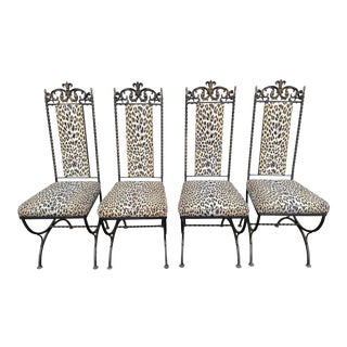 1960s Vintage Upholstered Cheetah Wrought Iron Chairs- Set of 4 For Sale