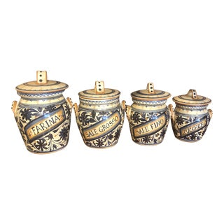 Italian Hand Painted Ceramic Canisters - Set of 4 For Sale