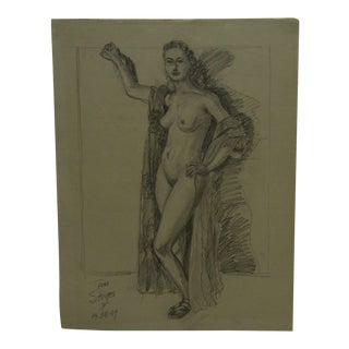 "1949 Mid-Century Modern Original Drawing on Paper, ""Woman Nude With Cape"" by Tom Sturges Jr"