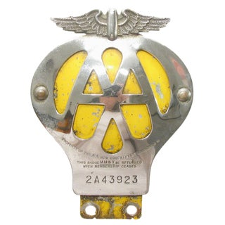 1958 English Automobile Association Badge For Sale