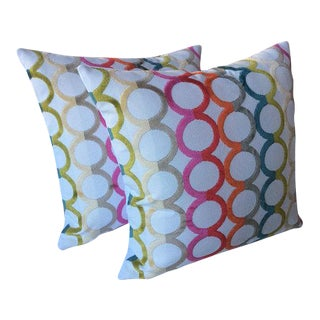 "Jonathan Adler ""Ringleader"" Velvet Circle Rainbow Pillows - a Pair For Sale"
