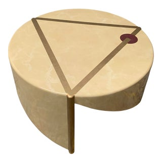 Vintage Asymmetrical Memphis Style Side Table in Ecru and Gold For Sale