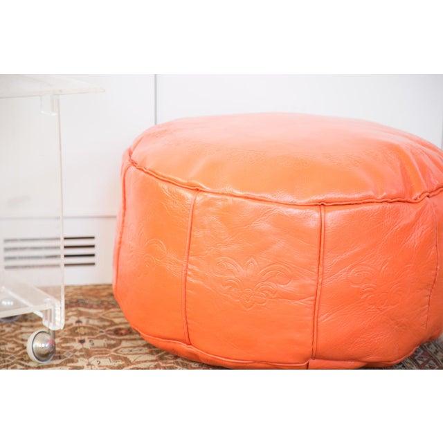 Antique Leather Moroccan Pouf - Orange - Image 4 of 8