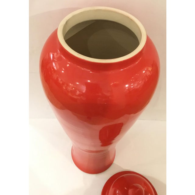 Chinese Fine Transitional Hand Thrown Red Glaze Large Chinese Porcelain Ginger Jar For Sale - Image 3 of 7