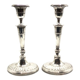 "English Art Deco Silver-Plate Candlesticks 11.5"" a Pair For Sale"