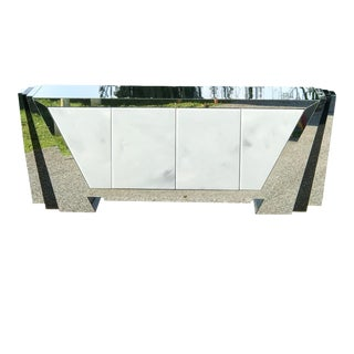 Vintage Custom Made Modern Art Mirrored Credenza For Sale