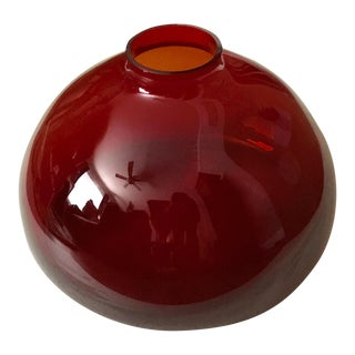 Large Contemporary Round Red Glass Vase