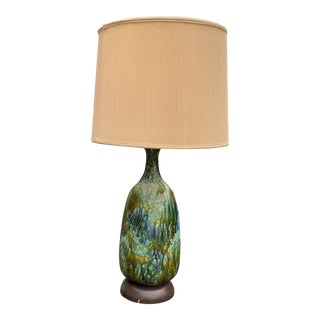 Mid Century Modern Drip Glaze Green and Blue Ceramic Lamp For Sale