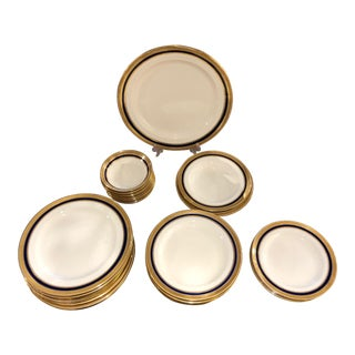 Set of 50 Piece Cauldon, England Gold Rimmed Bone China Set For Sale