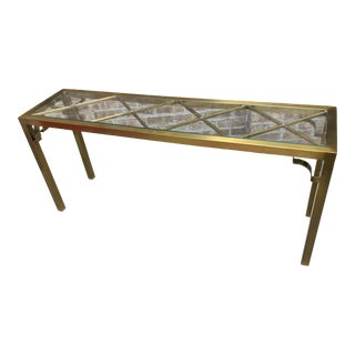 Hollywood Regency Brass Lattice Top Console Table For Sale