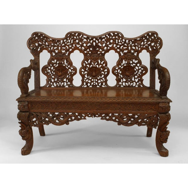 Asian Burmese style (19th Cent) carved teak triple filigree back loveseat with dragon arms