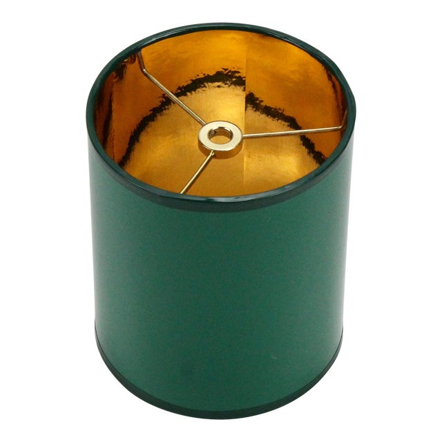 Mini High Gloss Dark Green Drum Lamp Shade With Gold Lining For Sale