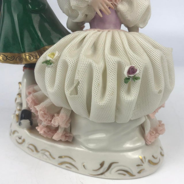 Dresden Porcelain Vintage Dresden Style Porcelain Couple Figurine For Sale - Image 4 of 6