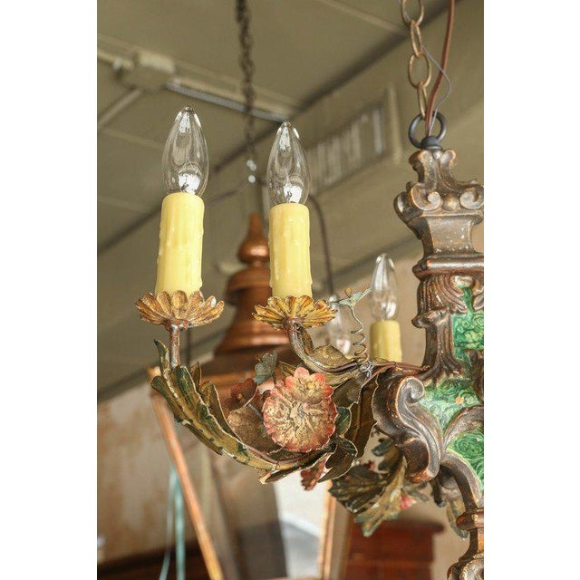 Small Painted Italian Chandelier - Image 4 of 7