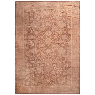 Antique Mahal Eggplant and Brown Wool Persian Rug with All-Over Floral Patterns For Sale