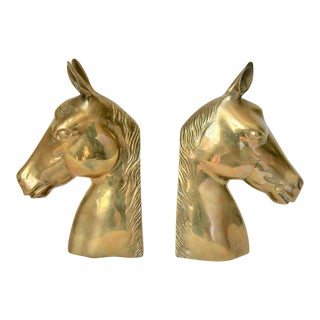 1980s Traditional Brass Horse Bookends - a Pair
