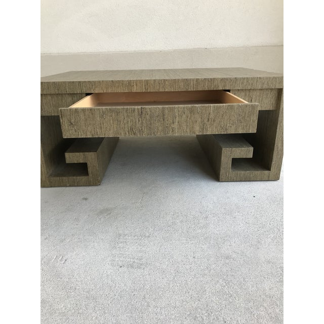 Grasscloth Greek Key Coffee Table For Sale - Image 10 of 13
