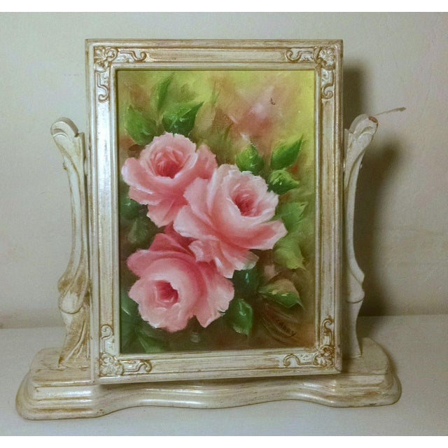 Vintage Swivel Stand With Signed Floral Painting - Image 5 of 5