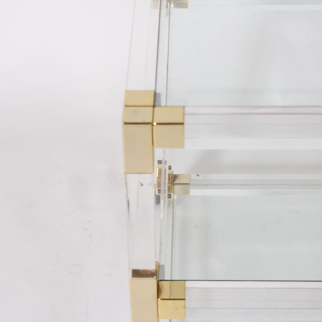Contemporary French Lucite, Glass & Brass 3 Tier Table C. 1970 For Sale - Image 3 of 6