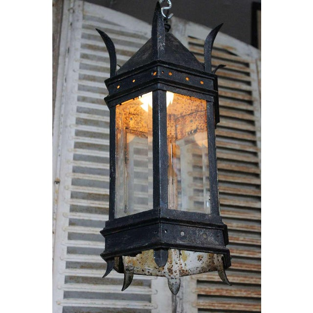French Iron and Glass Lantern For Sale - Image 5 of 7