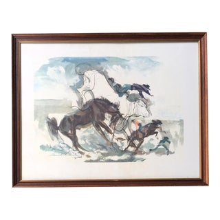 Vintage Mid-Century Francis Chase Roping a Calf Cowboy Framed Print For Sale
