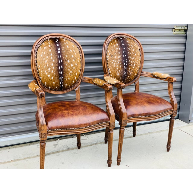 Animal Skin Modern Axis Hide Parlor Chairs- a Pair For Sale - Image 7 of 9