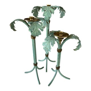Hollywood Regency Verdigris and Brass Palm Leaf Candle Holders - Set of 3 For Sale
