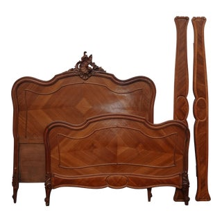 Antique French Rococo Louis XVI Full Bed Frame Headboard and Footboard For Sale
