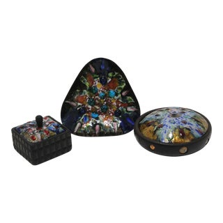 Mid-Century Artisan Copper Enamel on Wood Boxes and Dish by Esmaltes Capo - a Set of 3 For Sale