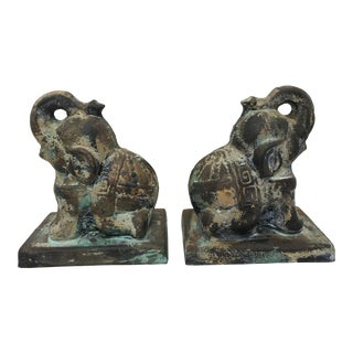 Toyo Japanese Cast Iron Elephant Bookends - a Pair For Sale