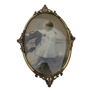 Antique Victorian Solid Brass Oval Frame With Convex Flass For Sale