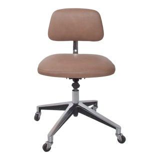 Saarinen Knoll Office Desk Chair Cocoa Leather on Chrome 1970s For Sale