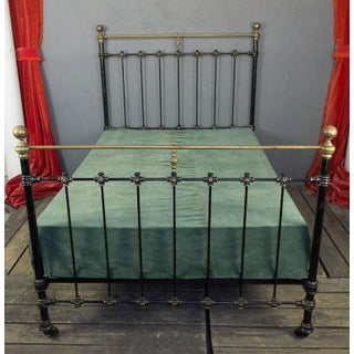 French 1920s Black Iron Bed With Brass Detailing Preview