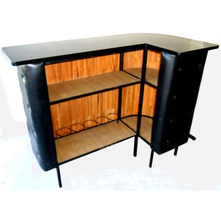 Vintage Midcentury Faux Leather French Bar by Jacques Adnet Preview