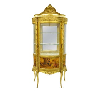 French Louis XV Gold Gilt Wood Vernis Martin Curved Glass Vitrine Curio Cabinet For Sale