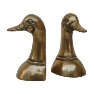 Vintage Brass Mallard Bookends - Pair For Sale