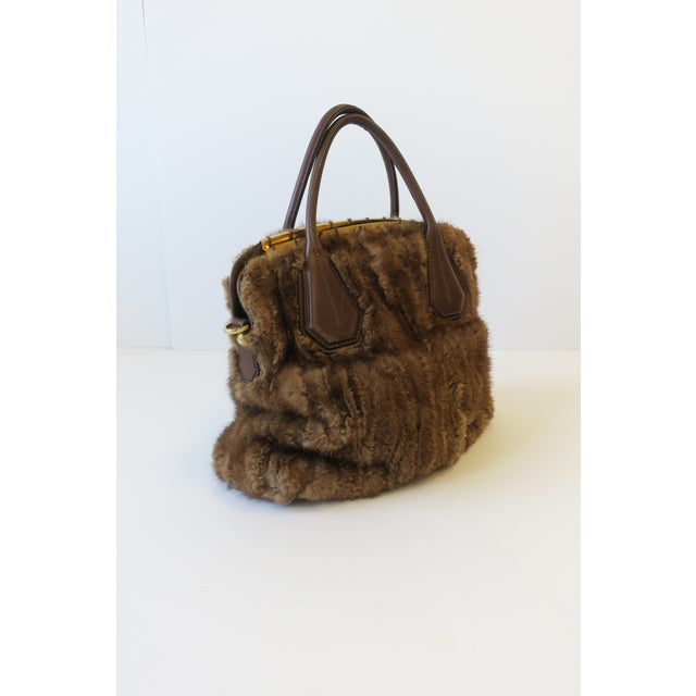 Italian Tod's Brown Leather, Mink and Brass Handbag For Sale - Image 3 of 13
