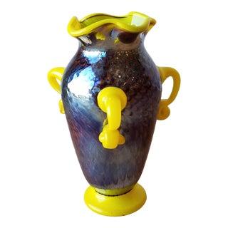 Dorian Ronando Three-Armed Blown Glass Vase For Sale